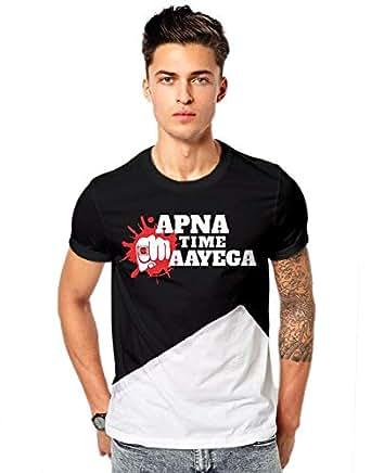 Promojo Crafter Apna time aayega Gully boy Movie desi Swag t-Shirts My Black-White