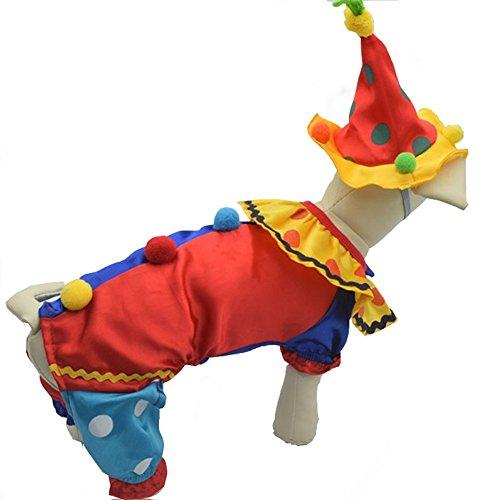 Youbedo Clown-Kostüm für Hunde, Clown-Kostüm für Kleine Hunde und Katzen, super lustig, Clown-Stil, für Cosplay-Partys, X-Large, Mehrfarbig (Lustige Familie Von 3 Kostüme)