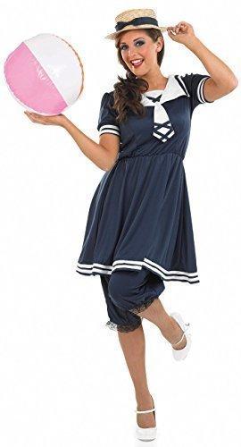 Damen 1920's blau Badeanzug Vintage Bademode alt Time tenue de Plage 20's Jahrzehnte Party inklusive Pumphosen und Stroh Hut Kostüm Kleid Outfit UK 8-26 Übergröße - Blau, (Kostüme Jahrzehnt Party)
