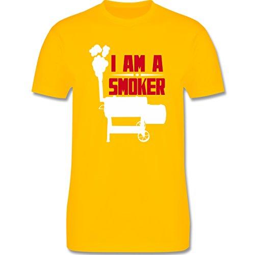 Grillen - I am a smoker - L190 Herren Premium Rundhals T-Shirt Gelb