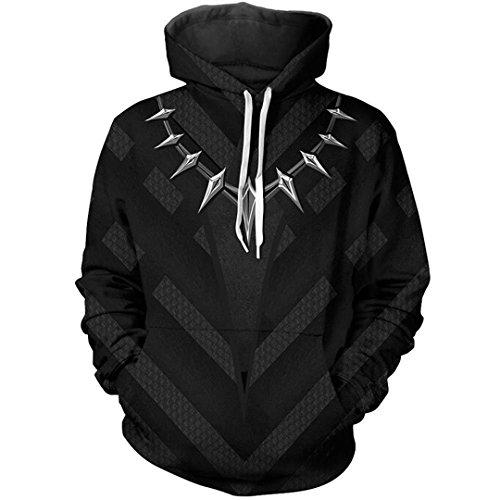 3D Print Hoodies Panther Cosplay Sweatshirt Hipster Streetwear Tops Pullover Top XXL -
