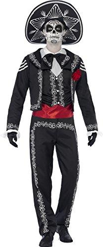 Smiffys, Herren Tag der Toten Senor Bones Kostüm, Jackett, Hose, Hemdattrappe und Hut, Größe: L, (Dia Halloween De)