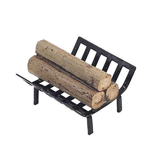 Tvvudwxx 1/12 Puppenhaus Metall Brennholzständer Mit Brennholz Miniatur Möbel Für Kamin Wohnzimmer Dekor Sammlung Geschenk