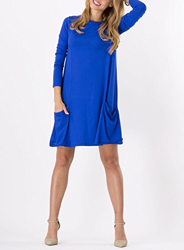 Futurino Femmes Solid Casual Manches 3/4 Poche Loose Mini T-shirt Tunique Sundress blue