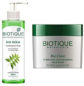 Biotique Bio Neem Purifying Face Wash, 200 ml And Biotique Bio Clove Purifying Anti Blemish Face Pack, 75g
