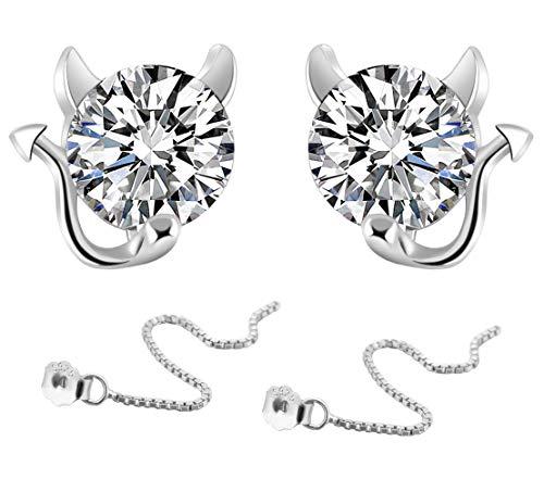KIPONE Damen Ohrringe 925 Sterling Silber Set Diamanten Ohrstecker Mit Geschenkbox EDXZ007 -