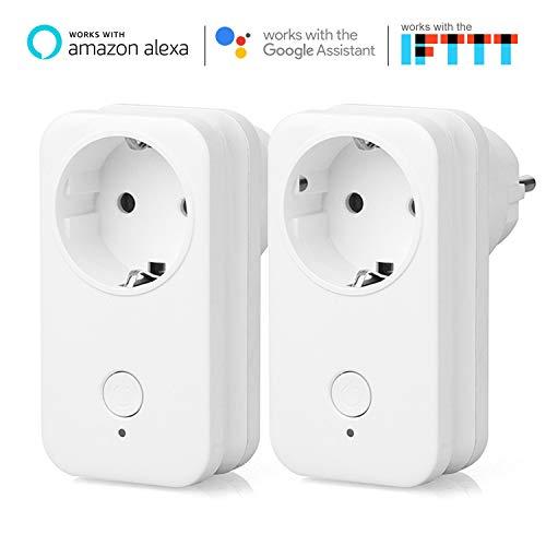 Presa Intelligente Wi-Fi Yuanguo, Presa per Telecomando Interruttore Timer Funziona con Amazon Alexa, Assistente Google, IFTTT, Controllo Vocale per Luci di Commutazione ed Elettrodomestici (2P)