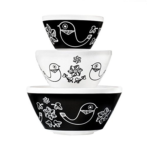 Pyrex Vintage Charm Birds of a Feather 3 Piece Mixing Bowl Set, inspired by Pyrex by Pyrex