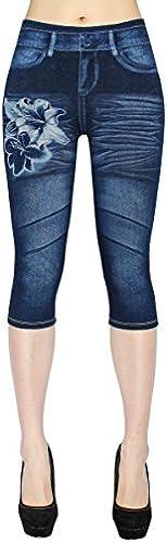 dy_mode Damen 3 4 Leggings Capri Jeggings Jeansoptik Shorts - CLG001