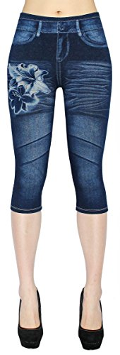 dy_mode Damen Capri Jeggings 3/4 Leggings in Jeans Optik - Gr.36/38/40 - CLG001 (3LG168-Lily)