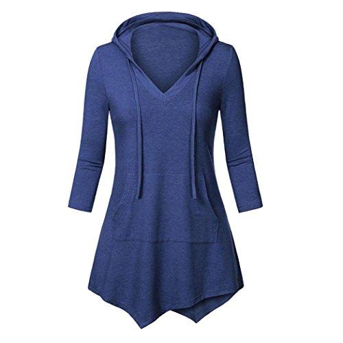 Internet Damen 3/4 Ärmel V-Ausschnitt Hoodie Lose Tunika Oberteil mit Kängurutasche Hemd Bluse (blau, L) (Stricken Jacke Tunika)