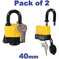 Tech Traders Aquasafe Non-Corrosive Heavy Duty Waterproof Padlock, Yellow, Set of 2 Pieces