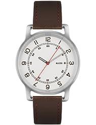 Alessi–Reloj con mecanismo de cuarzo para hombre color blanco esfera analógica pantalla y correa de piel color marrón al28001