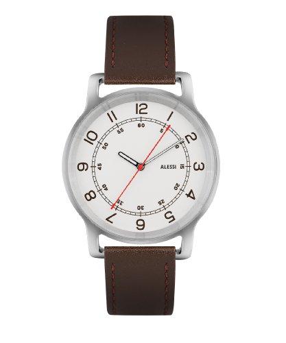 Alessi–Orologio da uomo al quarzo con quadrante analogico bianco e cinturino in pelle marrone al28001