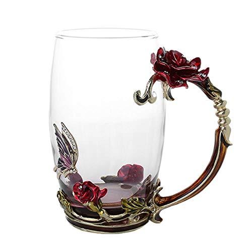 Unbekannt Emaille Kaffee Teetasse Becher 3D Rose Schmetterling Glasbecher Hochzeitsgeschenk LAD, Rot Lang Ohne SPO