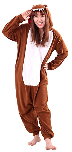 Pan Peter Kostüm Cartoon - URVIP Jumpsuit Tier Cartoon Fasching Halloween Kostüm Sleepsuit Cosplay Fleece-Overall Pyjama Erwachsene Unisex Schlafanzug Tier Onesie mit Kapuze Braun Drache Large