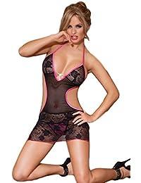 Saphira mode. Minikleid aus Spitze und schwarzer Masche. Bare zurück. Nackte Schultern. String enthalten. Geeignet für die Größen S bis M.