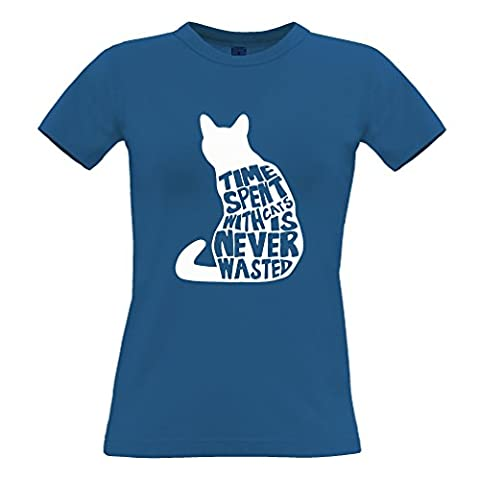 Time Spent With Cats Is Never Wasted Animal Pet Cute Print Design Grumpy Nyan Sigmund Freud Cuddle Internet Meme Printed Logo Cute Funny Womens Ladies T-Shirt Cool Birthday Gift Present