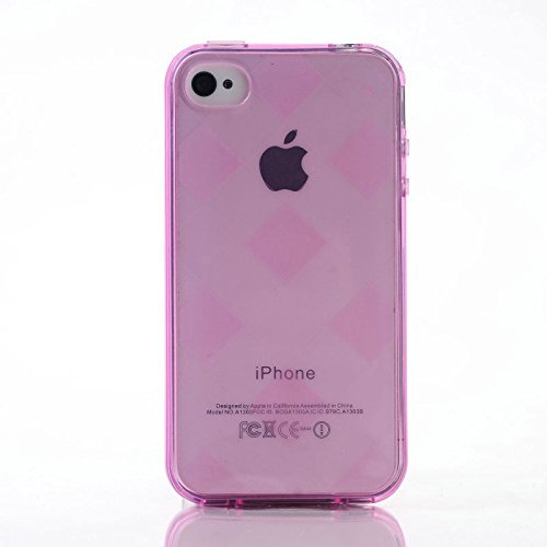 EE Zubehör Diamant Checkers CLEAR CRYSTAL TPU Case für iPhone 44S (Hot Pink) Hot Pink Checker