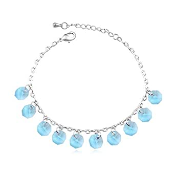 Swarovski Elements Alloy Crystal Anklets Rhinestone Anklets Beach Foot Jewelry Bit By Bit Anklet Chain,A-OneSize