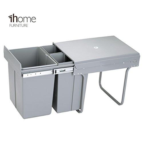 1home Poubellet Recyclable Compatiment à Tirer pour Cuisine 40L, Gris