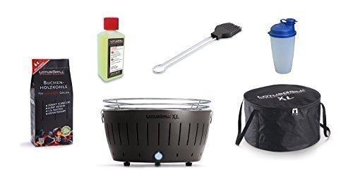 LotusGrill XL KIT DE DÉMARRAGE LOT 1 Gris Anthracite 1 charbon bois hêtre 1kg,1 brûleure à pâte 200ml,1xmarinierpinsel anthracite,1 SHAKER sauce,1 sac transport - Le raucharme Barbecue à / Gril table
