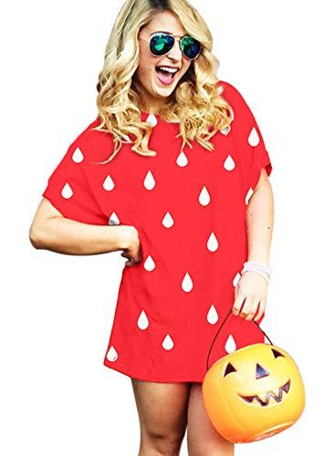 Goodstoworld Halloween 3D T Shirt Kleid Damen Erdbeere Sexy Obst Druck Lang T-Shirt Mini Dress Kostüm