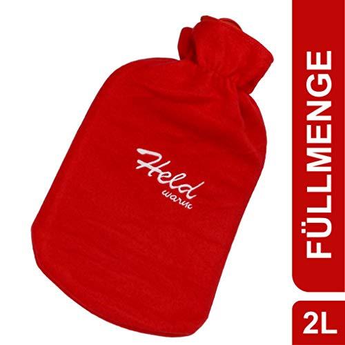 Wärmflasche mit Spruch Held warm - Polar Fleece Bezug 2L rot - Naturkautschuk Bettflasche für Nacken und Schulter - waschbar - extra langanhaltende Wärme perfekt für kalte Abende