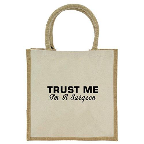Trust Me I 'm A Chirurg in schwarz print Jute Midi Einkaufstasche mit Beige Griffen und Besatz (Tierarzt Creme)