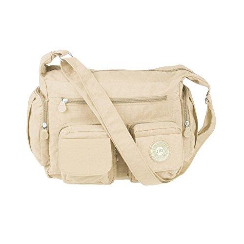 OBC design italiano Unisex Erw. & Bambini Borsa Tracolla Casual Shopper Borsa a tracolla - Nero 39x23x9 cm, ca 39x23x9 cm (BxHxT) beige