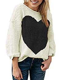 a88eaeabdd06 Oudan Frauen Winter Casual Langarm Herz Pullover Strickpullover (Farbe    Beige, Größe   S