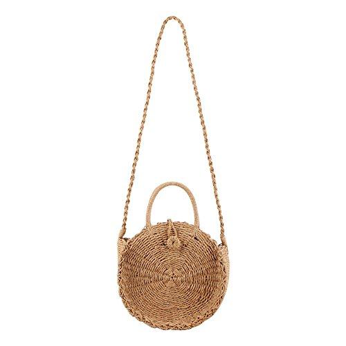 Frauen handgewebte rund Stroh Sommer Strand Crossbody Tasche Travel Lagerung Schultertasche Handtasche Tote für Lady -