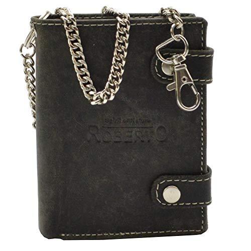 Leder Portemonnaie mit Kette Glattleder Design Roberto mit RFID Schutz (schwarz)