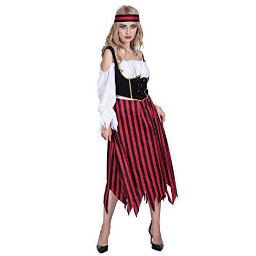 Kostüm Themed Piraten - EraSpooky Damen Piraten Streifen Kleid Kostüm