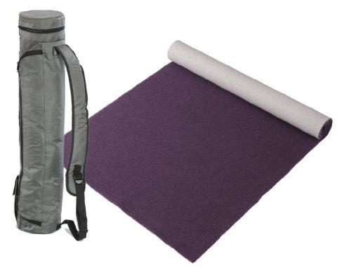 """Bausinger Yogaset: Yogamatte """"Die junge Matte"""", Florhöhe 5mm, 80x200 cm, aubergine, mit passender Yogatasche in anthrazit"""