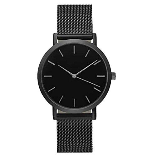 Vovotrade Damen Gürtel Uhren Runden Analog Quartz Kristall rostfreier Stahl(Schwarz)