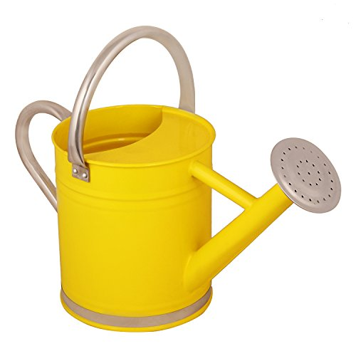 Wonderland 2.4 Liter Watering Can In Yellow With Stainless Steel Spout And Handle For Extra Durability, Gardening Tools