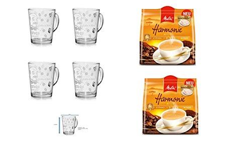 Melitta Kaffeepads Harmonie 16 Stk 2er Pack + 4er Set Gläser mit Henkel 280ml ...