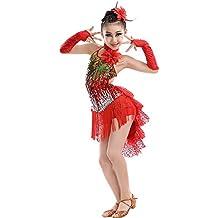 BOZEVON Niñas Latina Tango Salón De Baile Salsa Borla Lentejuelas Vestido