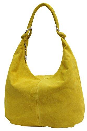 AMBRA Moda Damen Wildleder Schultertasch Damen Handtasche Hobo-Bags Shopper Beuteltaschen Veloursleder Suede Ledertasche DIN-A4 42cm x 35cmx 4cm WL803 (Gelb)
