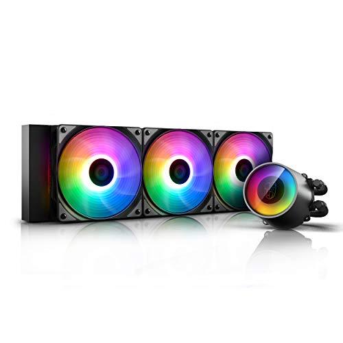 DEEP COOL Castle 360 RGB Wasserkühler mit adressierbarem RGB-Kühler und Lüftern, Kabel und Motherboard (mit 5-V-3-Pin-ADD-RGB-Sockel) Unterstützte Steuerung, 3 Jahre Garantie