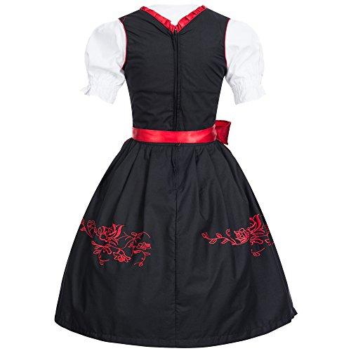 Gaudi-Leathers Dirndl Set 3 Teilig mit und ohne Miederhaken, Trachtenkleid, Dirndl Bluse, passender Schürze, Schwarz Schwarz (Rot 050)