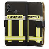 DeinDesign Huawei P20 Lite Tasche Leder Flip Case Hülle Feuerwehr Feuerwehrmann Firefighter