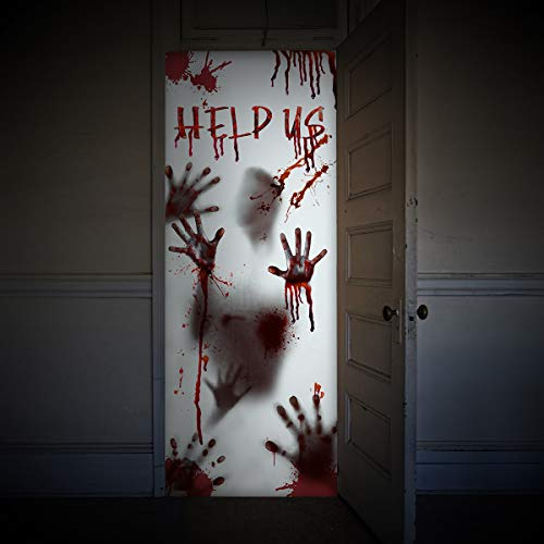 "Unomor Scary Halloween Decorations for Window Door Haunted House, Scary Bloody Handprint Halloween Props, 80�35.5"" [Kitchen]"