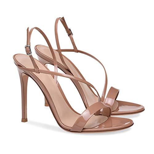 Ladies high Heel Peep Toe There Ankle Strap Buckle Sandals,Flesh,44 Toe-strap Sandal