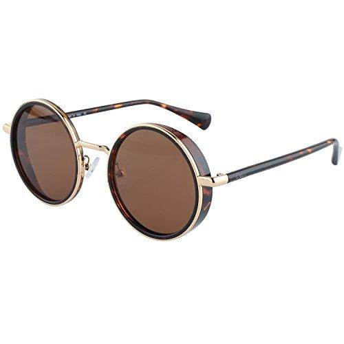 DUCO Vintage Steampunk Style Runde Sonnenbrille Spiegelglas mit Metallrahmen und Seitenschilder UV400 Schutz W004 (Tortoise)