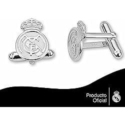 Gemelos escudo Real Madrid Plata de ley lisos [6823] - Modelo: 30-059-L
