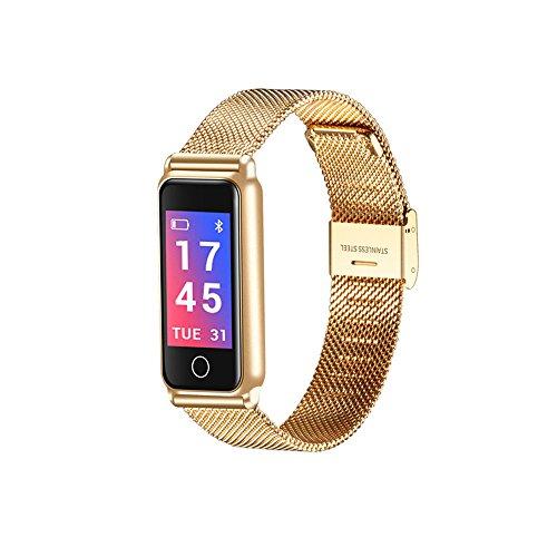Smart Armband Herzfrequenz Blutdruck Blut Sauerstoff Armband Unterstützung Wasserdicht IP67 Herzfrequenz SmartBand Schrittzähler Fitness Tracker Y8 0,96 Zoll TFT IPS Farbe Uhrenarmband 2018 (Golden) (Einstellen Blutdruck)