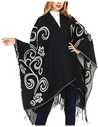 DoFiyeng Damen Poncho Cape Poncho Umhang Modeschal Umschlagtuch Strickjacke Vorne Offen Schal Wrap(vielen Farben)