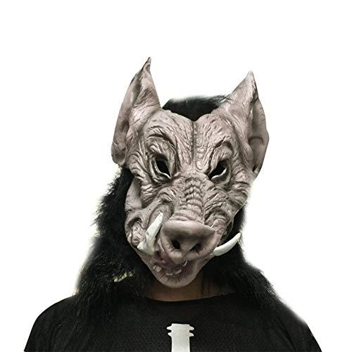 Cdet 1x Horror Maske Halloween Neuheit Latex Horror Spuk Kopf Masken Cosplay Karneval Maskerade Kostüm (Wildschwein Kopf)